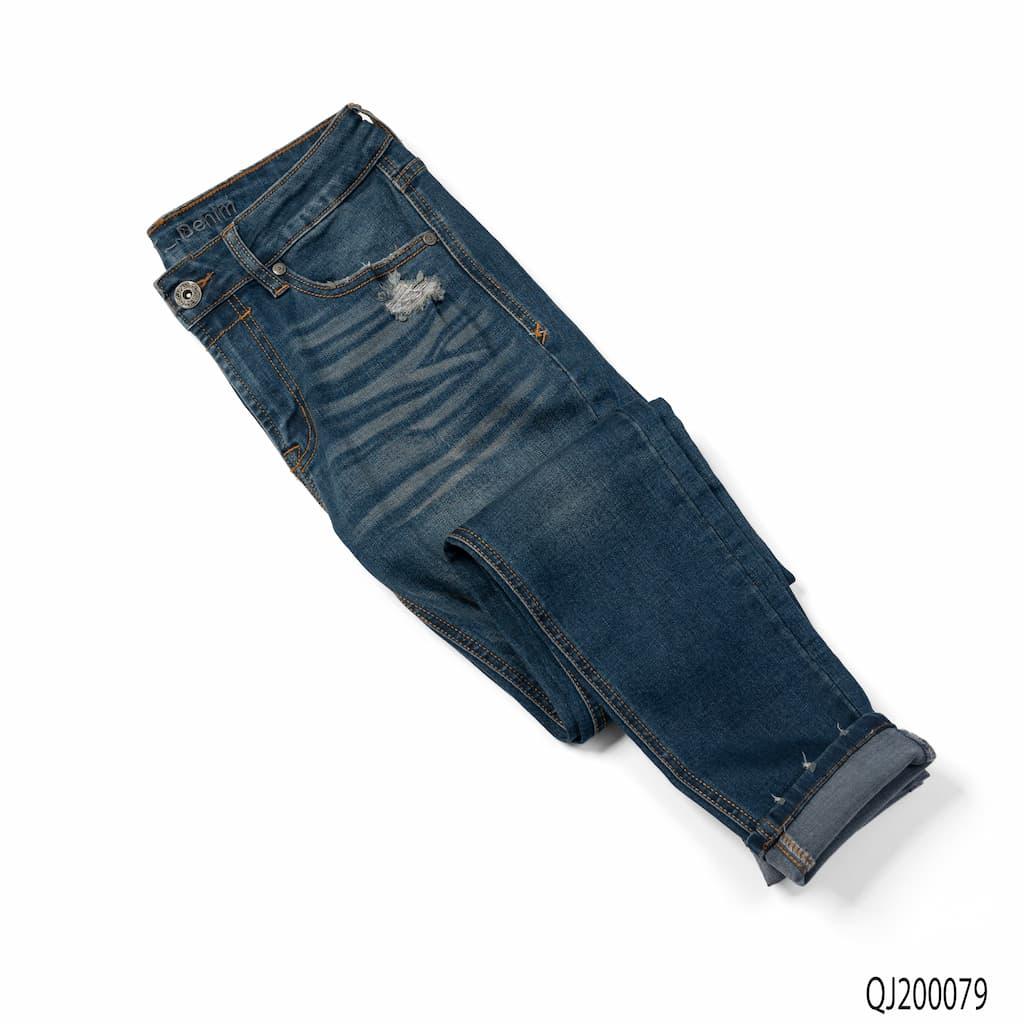 Quần Jean Espirit Denim - Xanh đậm rách túi
