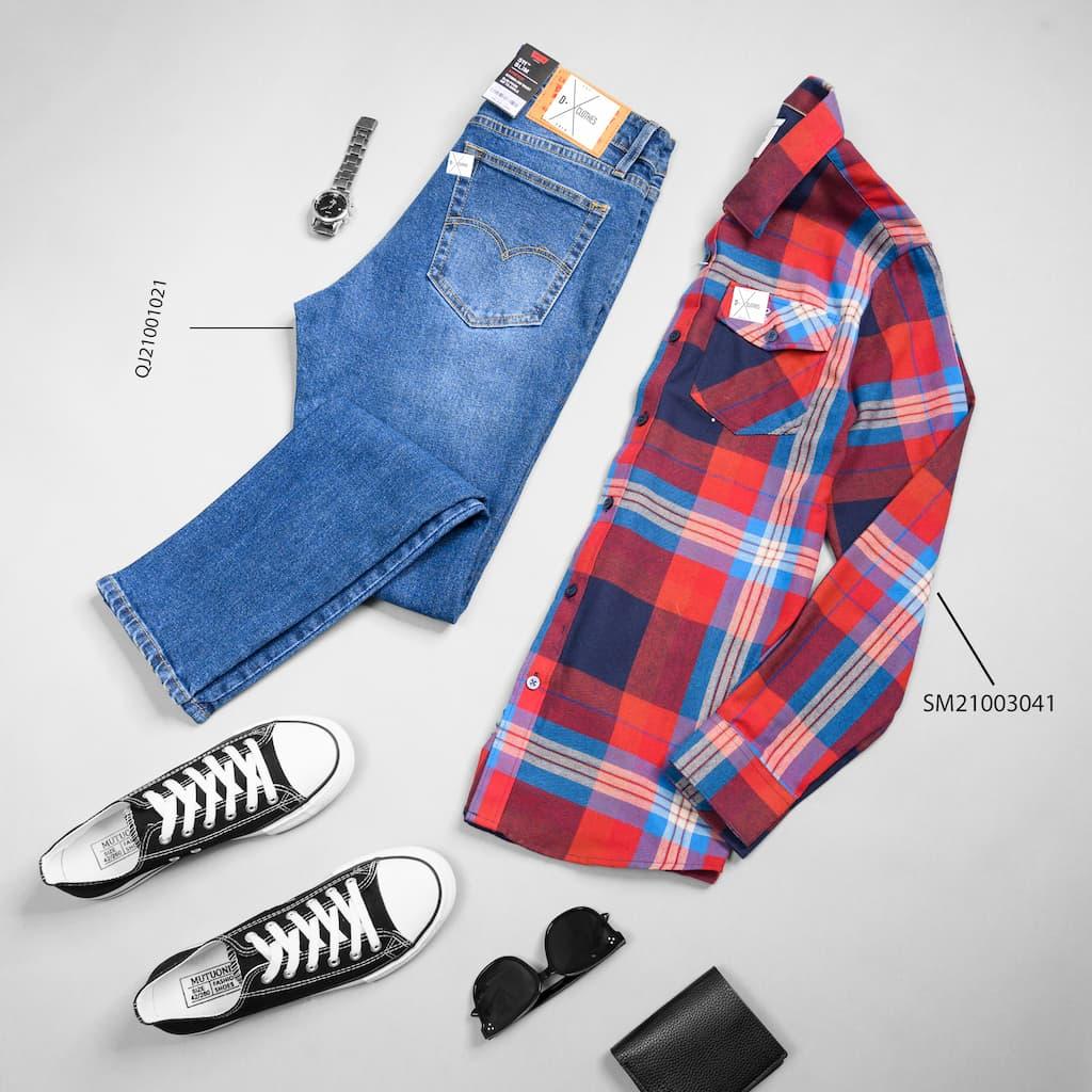 Sơ mi caro phối quần jeans xanh hình đại diện