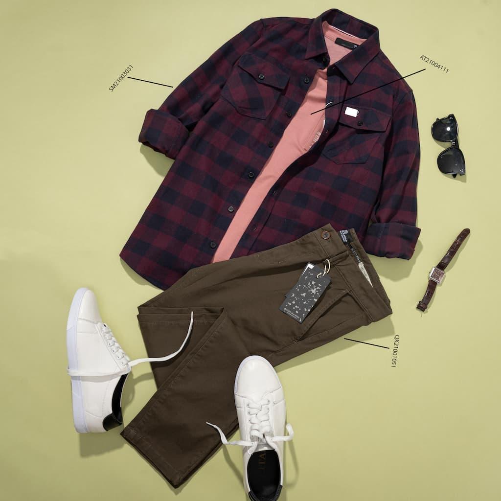 Combo quần Khakis và Sơ mi flannel túi đắp
