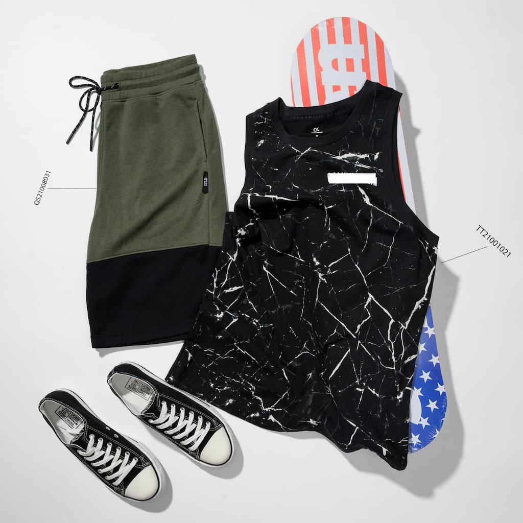 Mix and Match áo thun ba lỗ và shorts