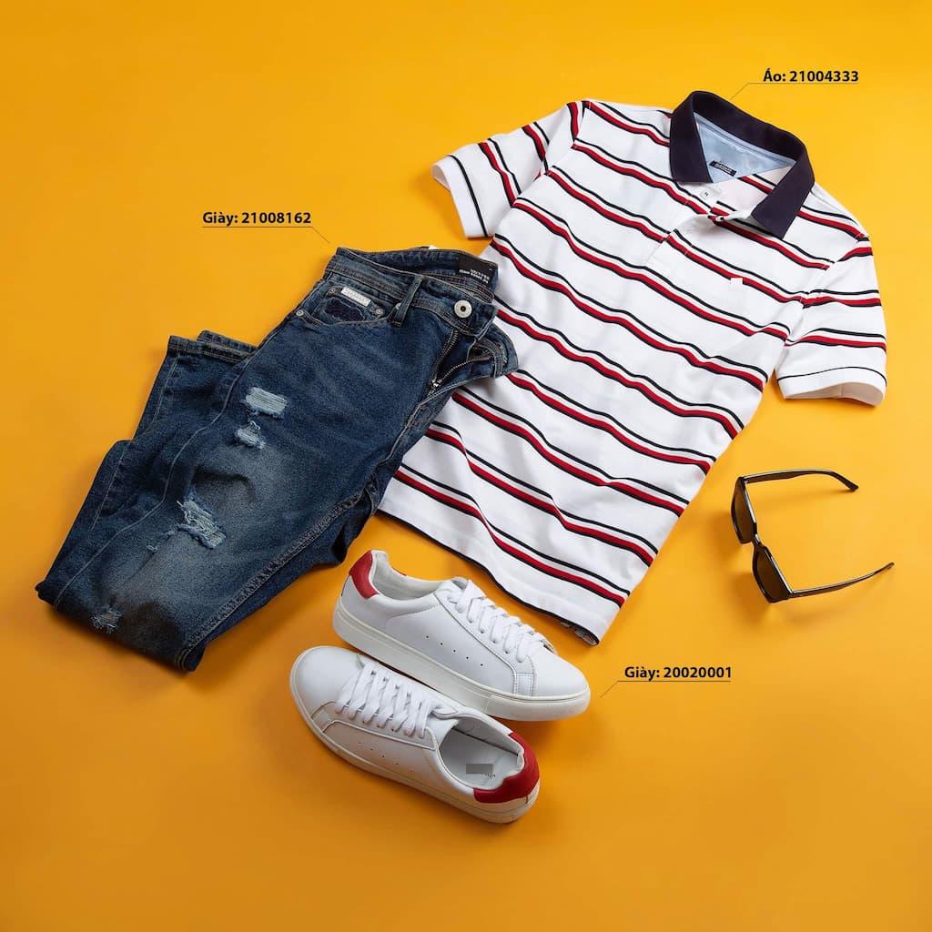 Mix and match áo thun polo và quần quần jeans